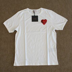 Palm Angels Love Embroidered White T-Shirt